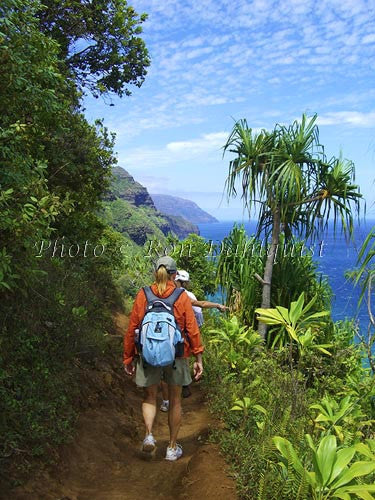Hikers on the Kalalau Trail which runs along the Na Pali coast. Kauai, Hawaii Picture