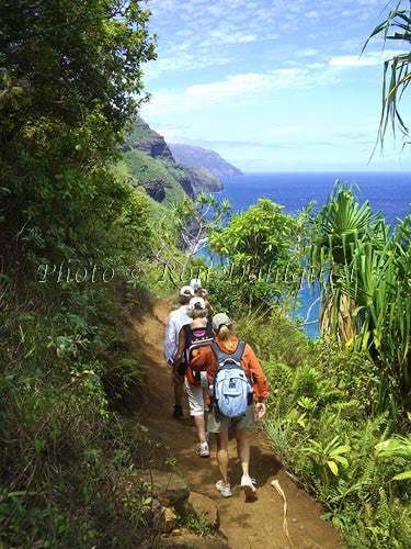 Hikers on the Kalalau Trail which runs along the Na Pali coast. Kauai, Hawaii Picture Photo