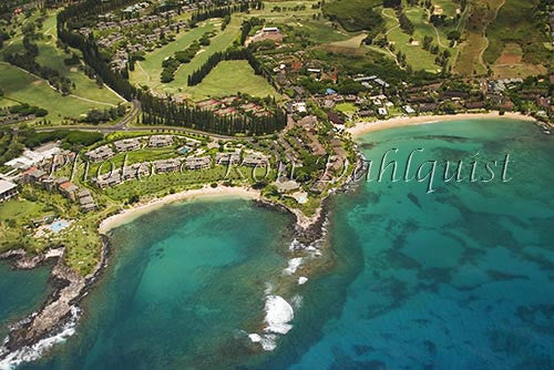 Aerial of Kapalua and Kapalua Bay, Maui, Hawaii Picture Photo Stock Photo - Hawaiipictures.com
