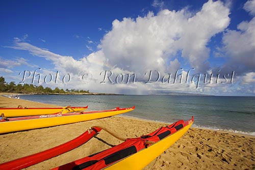 Outrigger canoes on Fleming Beach, Kapalua, Maui, Hawaii