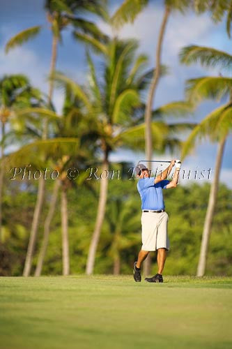 Man golfing in Hawaii with palm trees in background. - Hawaiipictures.com
