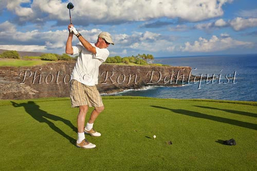 Woman golfing on The Challenge at Manele Golf Course, Lanai MR Picture Photo