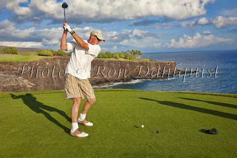 Woman golfing on The Challenge at Manele Golf Course, Lanai MR Picture Photo - Hawaiipictures.com