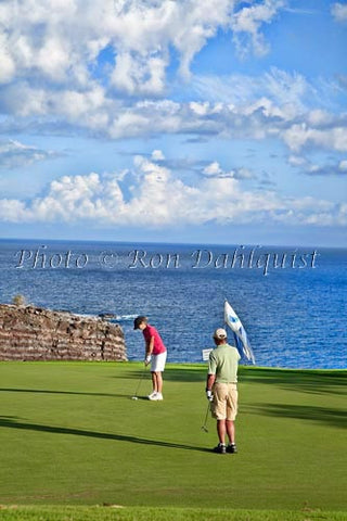 Woman golfing on The Challenge at Manele Golf Course, Lanai MR Photo - Hawaiipictures.com