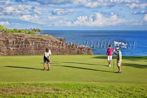 Woman golfing on The Challenge at Manele Golf Course, Lanai MR Picture - Hawaiipictures.com
