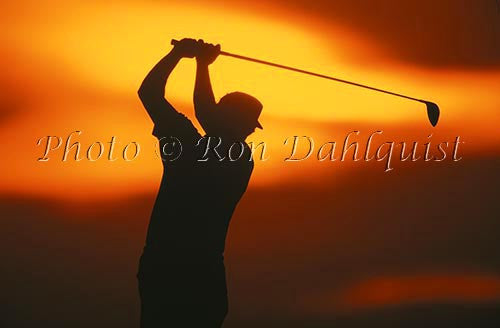 Silhouette of golfer, Maui, Hawaii