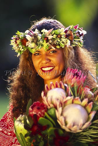 Hula dancer with protea flowers, Maui, Hawaii