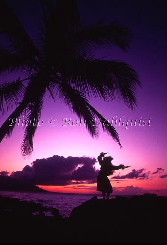 Silhouette of hula dancer at sunset. Maui, Hawaii Picture Photo Stock Photo