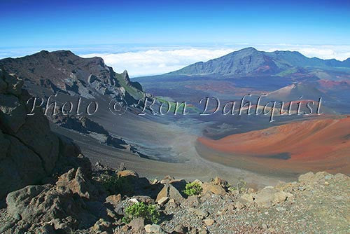 View of cinder cones in Haleakala Crater, Maui, Hawaii