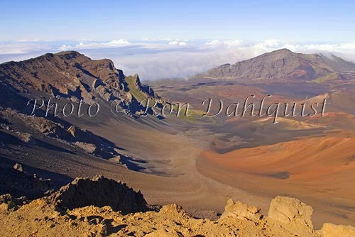 Overview of Haleakala Crater, viewed from the top, Maui, Hawaii