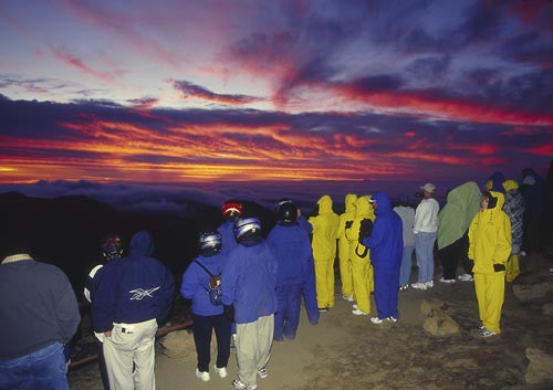 Haleakala crater, waiting for the sun to rise, Maui, Hawaii