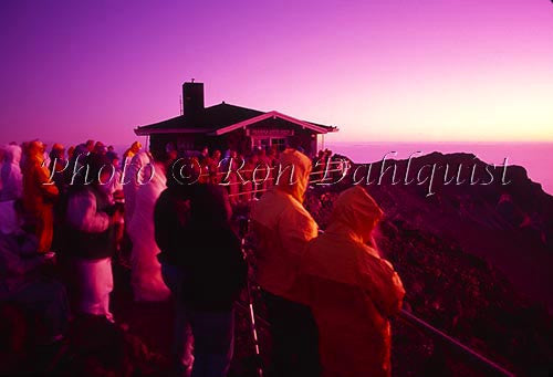 People watching surise at Haleakala Crater, Maui, Hawaii
