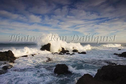 Surf breaking on the rocks at Ho'okipa on the north shore of Maui, Hawaii - Hawaiipictures.com