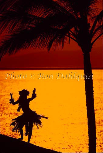 Silhouette of hula dancer, Maui, Hawaii Stock Photo
