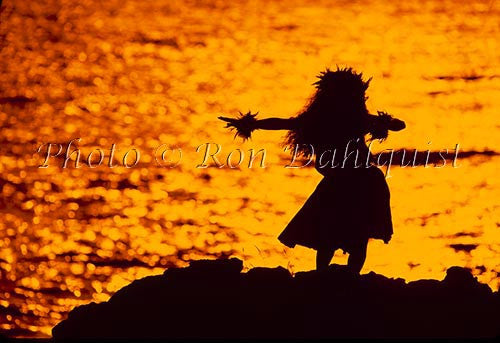 Silhouette of hula dancer, Maui, Hawaii Picture Photo Stock Photo