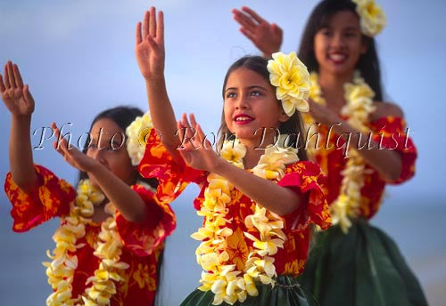 Keiki hula dancers with plumeria lei, Maui, Hawaii Picture - Hawaiipictures.com