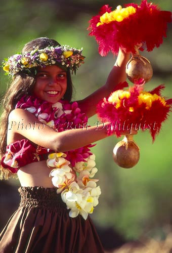 Keiki hula dancer, Maui, Hawaii Stock Photo Image