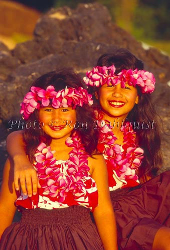 Keiki hula dancers with plumeria lei, Maui, Hawaii Picture Photo