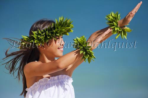 Keiki hula dancer, Maui, Hawaii Picture Stock Photo