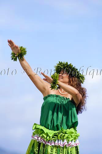 Hula Kahiko dancer, Maui, Hawaii MR Picture Photo