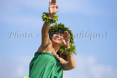 Hula Kahiko dancer, Maui, Hawaii MR Stock Photo