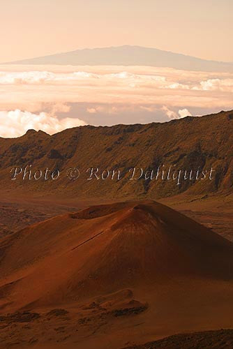 View of cinder cones in Haleakala Crater, Big Island in backgrd, Maui, Hawaii
