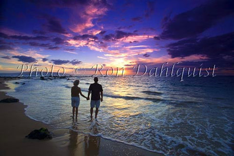 Romantic couple watching a beautiful sunset in Wailea, Maui, Hawaii Picture Photo - Hawaiipictures.com