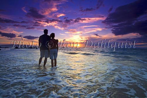 Romantic couple watching a beautiful sunset in Wailea, Maui, Hawaii Picture - Hawaiipictures.com