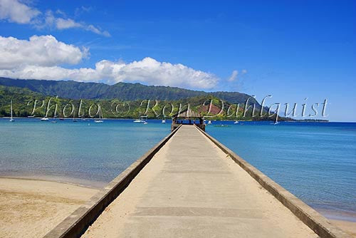 Dock at Hanalei Bay, Princeville, Kauai, Hawaii