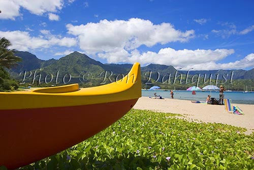 Outrigger canoe at Hanalei Beach and Bay, Princeville, Kauai, Hawaii
