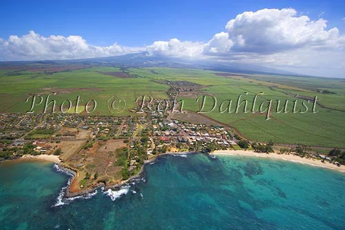 Aerial of Paia and Haleakala, north shore of Maui, Hawaii - Hawaiipictures.com