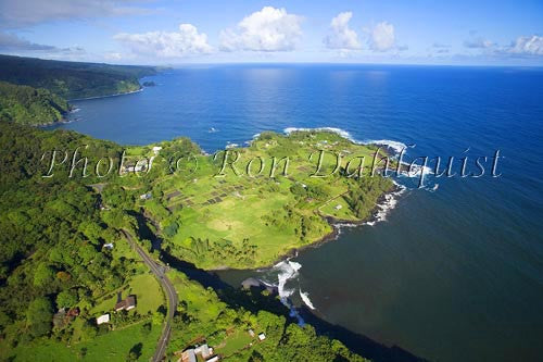 Aerial of Keanae Peninsula on the road to Hana, Maui, Hawaii - Hawaiipictures.com