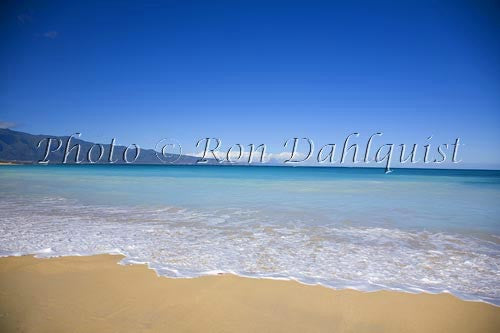 Baldwin Beach on the north coast, West Maui mountains in distance, Maui Picture Photo Stock Photo - Hawaiipictures.com
