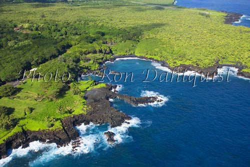 Aerial of Waianapanapa State Park and Black Sand Beach, Hana, Maui, Hawaii - Hawaiipictures.com