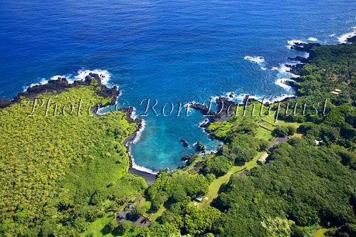 Aerial of Waianapanapa State Park and Black Sand Beach, Hana, Maui, Hawaii Picture - Hawaiipictures.com