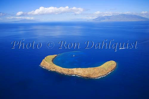Aerial of Molokaini, famous snorkeling location, Maui, Hawaii - Hawaiipictures.com