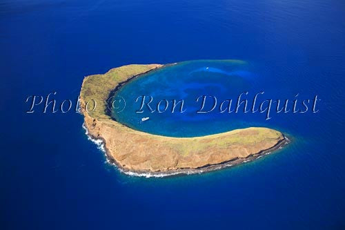 Aerial of Molokini, famous snorkeling location, Maui, Hawaii Picture - Hawaiipictures.com
