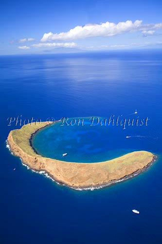 Aerial of Molokaini, famous snorkeling location, Maui, Hawaii Photo - Hawaiipictures.com