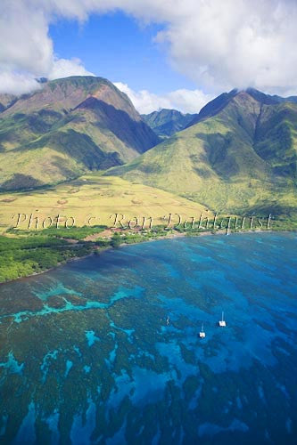 Aerial view of West Maui Mountains and coral reef at Olowalu, Maui, Hawaii Picture - Hawaiipictures.com