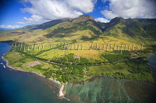 Aerial view of West Maui Mountains and coral reef at Olowalu, Maui, Hawaii - Hawaiipictures.com