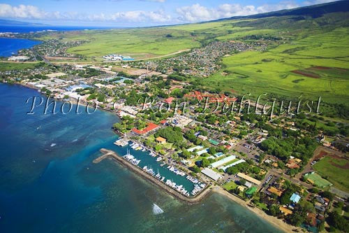 Aerial of Lahaina and Lahaina Harbor, Maui, Hawaii - Hawaiipictures.com