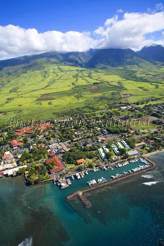 Aerial of Lahaina and Lahaina Harbor, Maui, Hawaii Picture - Hawaiipictures.com