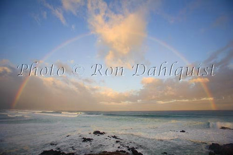 Rainbow at sunrise, waves breaking, Hookipa, Maui Photo - Hawaiipictures.com