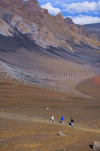 Hikers on Sliding Sands Trail, Haleakla Crater, Maui, Hawaii MR