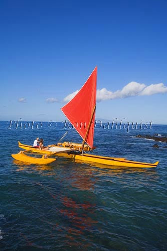 Traditional Hawaiian Sailing Canoe off Wailea Coastline, Maui, Hawaii MR Picture Photo Stock Photo