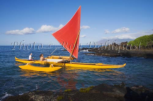 Traditional Hawaiian Sailing Canoe off Wailea Coastline, Maui, Hawaii MR