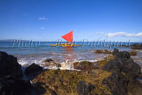 Traditional Hawaiian Sailing Canoe off Wailea Coastline, Maui, Hawaii MR Picture Photo