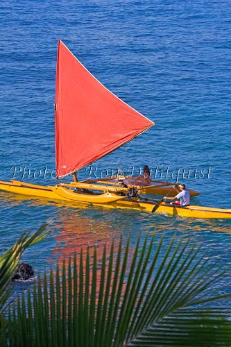 Traditional Hawaiian Sailing Canoe off Wailea Coastline, Maui, Hawaii MR Picture