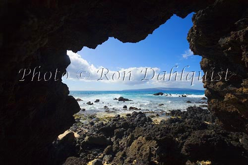 Kahoolawe as viewed from a lava tube in Makena, Maui, Hawaii