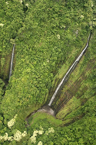 Waihiumalu Waterfall near Hana, aerial view, Maui, Hawaii